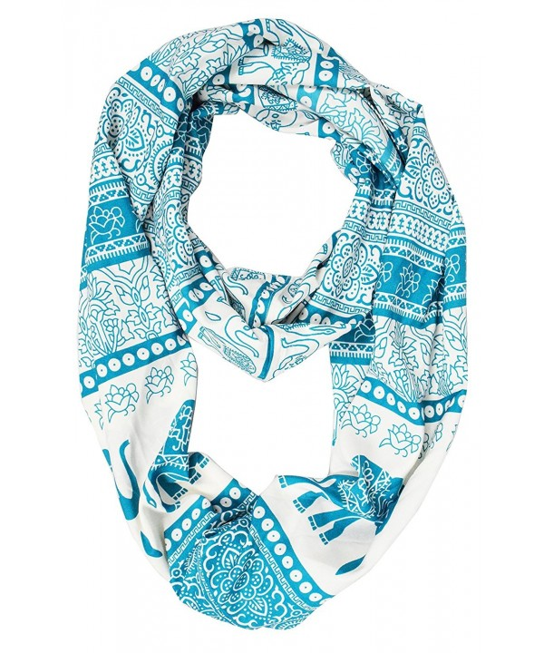 Peach Couture Tribal Paisley Floral Elephant Animal Print Infinity Loop Scarf - Teal - CN123ETTJRZ