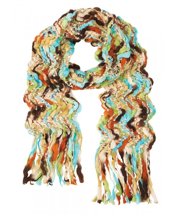 Women's Colorful Open Weave Scarf - Chunky Handcrafted Fringe Wrap - C2187UEOQRX