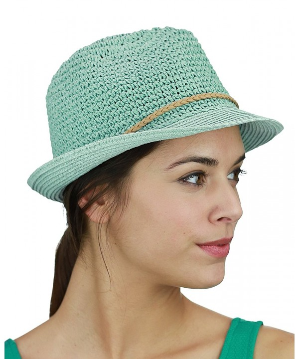 C.C Braided Faux Suede Band Open Weaved Spring Summer Trilby Fedora Hat - Mint/Beige - C217YT3N5YM