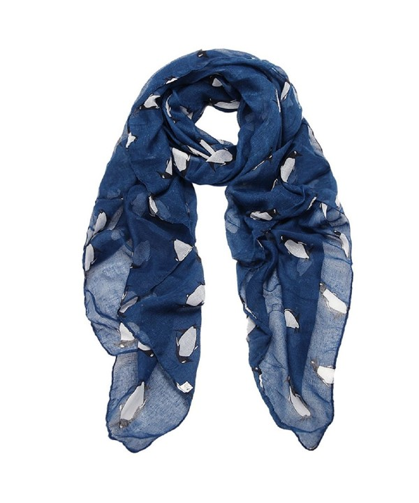 DaySeventh Fashion Women Lady Penguin Print Shawl Butterfly Voile Rectangle Cute Scarf Scarves - Navy - CW1265P1H9D