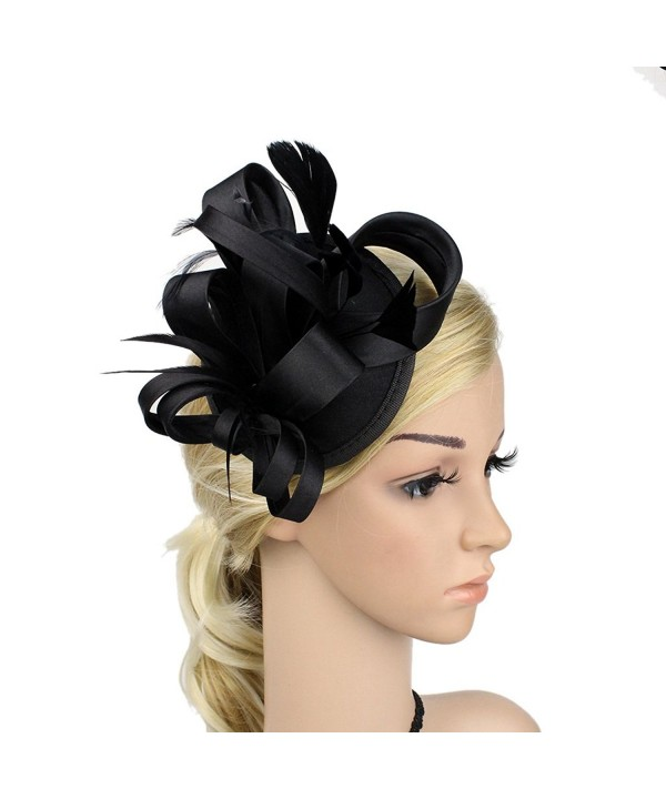 ChezAbbey Women's Feather Flower Derby Hat Fascinator Hair Clip Wedding Party - Black - CB1868NH66U