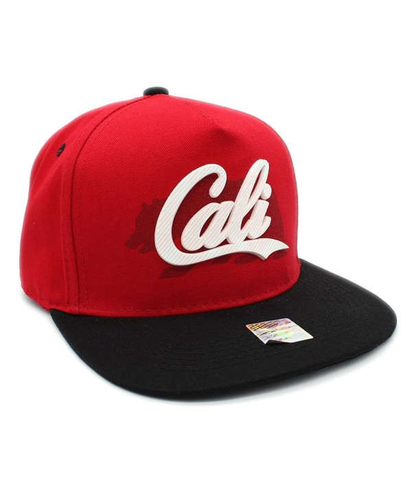 CALI Rubber Patch Shadow Bear Flat bill Adjustable Snapback Cap California Hat - Red/Black - CI185E7AE70