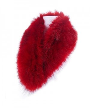 LETHMIK Women's Faux Fur Collar Fluffy Winter Scarf Neck Wrap for Winter Coat - Red - C612N4A31P1