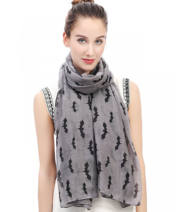 Lina & Lily Halloween Bats Print Women's Large Scarf Shawl Wrap Oversized Lightweight - Gray - CB11XSDGMWN