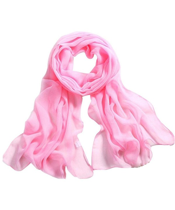 Deamyth Women Chiffon Scarves Lady Soft Long Shawl Wrap Scarf Solid Color - Pink - C712N6EZUXR