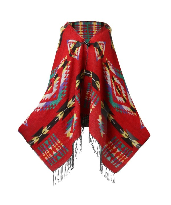 UTOVME Womens Wool Blend Fashion Bohemian Fringe End Poncho Cashmere Feel Cape - Red - C4126DGVLGX