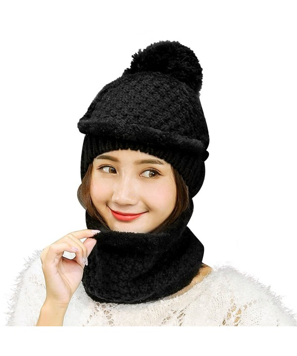 Vbiger 2-Pieces Winter Hat Scarf Mask Set- Warm Knit Beanie Hat and Scarf For Women - 3-pieces Black - CD186YNA6XD