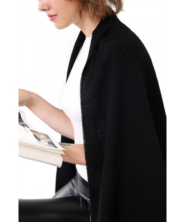 Aqueena 100% Lamb Wool Winter Wrap Shawl Oversized Scarf - Black - CP188A0OHEO