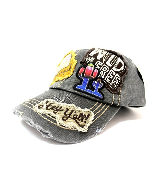"Vintage Black ""Y'ALL- HAPPY CAMPER- WILD FREE"" Multi-Patch Embroidered Adjustable Cap - CJ17Z58ILOT"