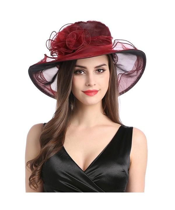 MissCynthia Women's Organza Church Kentucky Derby Fascinator Tea Party Wedding Hat - Wine Red - CH182T42Z4C