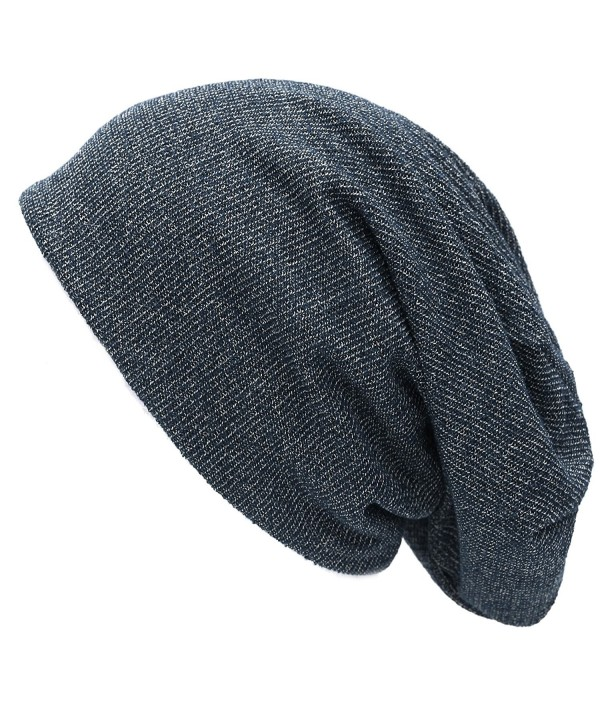 THE HAT DEPOT Unisex Heather Tweed/Solid Fleece Lined Slouchy Long Beanie Warm Hat - Navy - CP186ONK0RM