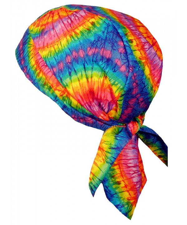 Tie Dye Skull Cap 1960s Hippie Bandana Head Wrap Doo Rag Tye Die Skullie - CZ12NRICIM3
