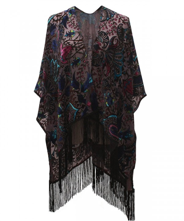 Genovega Floral Burnout Velvet Dress Kimono Cardigan Poncho With Fringe Velvet Shawls Wraps - 36 - CR180HRDYTL