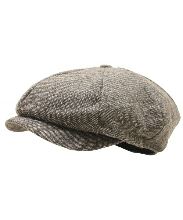 Men Woolen Tweed Gatsby Eight Panel Newsboy Hat Homespun Bakerboy Cap - Brown - CV12N29YZ1A