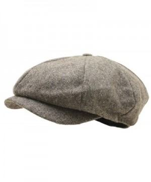 Men Woolen Tweed Gatsby Eight Panel Newsboy Hat Homespun Bakerboy Cap - Brown - CV12N29YZ1A