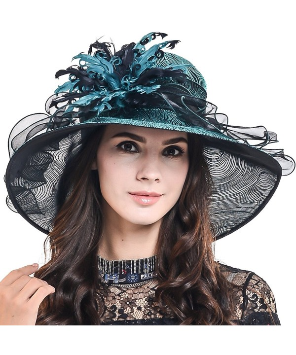 HISSHE Women Feather Kentucky Derby Tea Party Baptism Church Dress Hat S041-A - Green - C017XW8QOGU