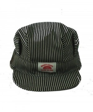 Round House Train Conductor Hickory Striped Engineer Hat - Adult - Made in USA - Stripe - C81157EQXTD