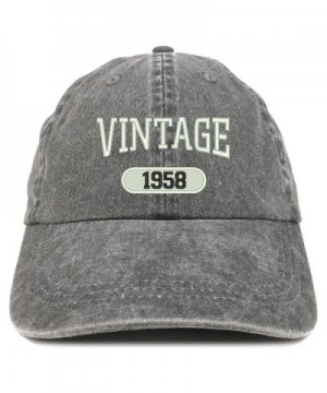 Trendy Apparel Shop Vintage 1958 Embroidered 60th Birthday Soft Crown Washed Cotton Cap - Black - CH12O46GDCG