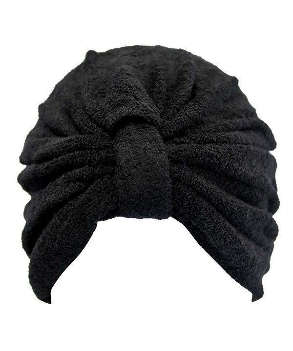 Luxury Divas Soft Terry Cloth Turban Head Wrap - Black - CJ11HYQ5631