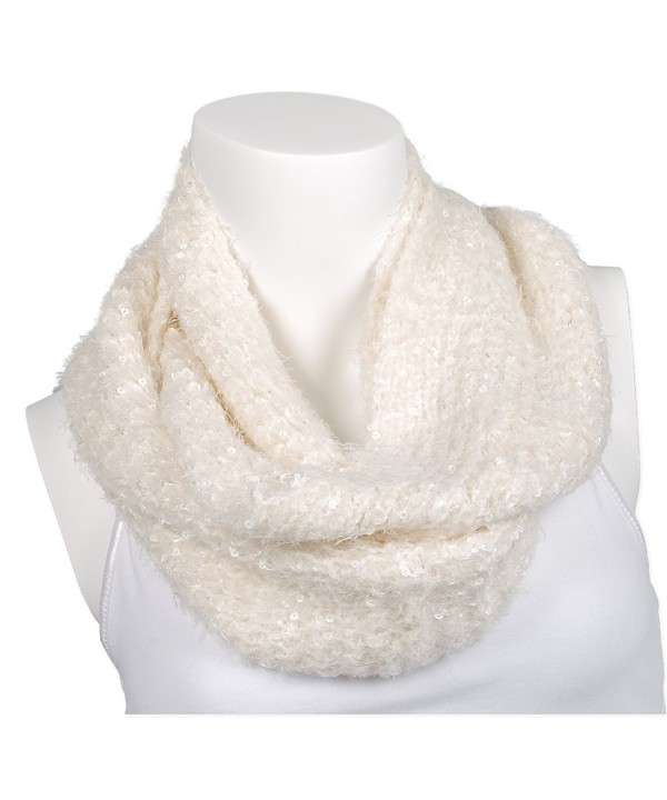 Snoozies Womens Thick and Soft Winter Knit Infinity Scarf - Soft Sequin - White - CC127DHM0B1
