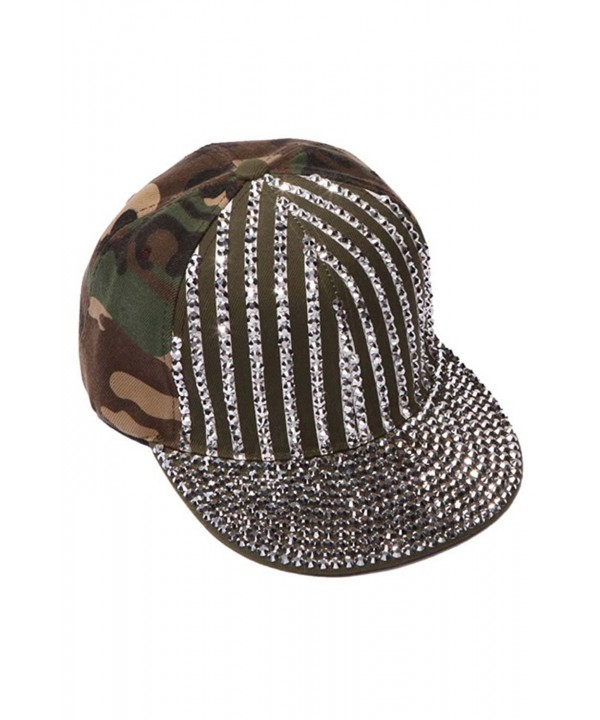ChicHeadwear Womens Sequined Striped Baseball Cap - Camo - CU12I3TKKM9