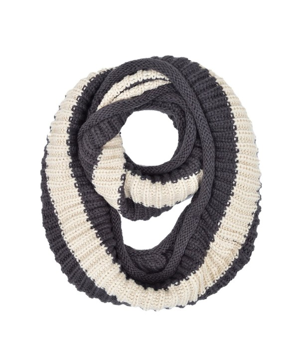 Premium Winter Knit Striped Infinity Loop Circle Scarf - Different Colors Available - Charcoal - CD12CUU4ITN