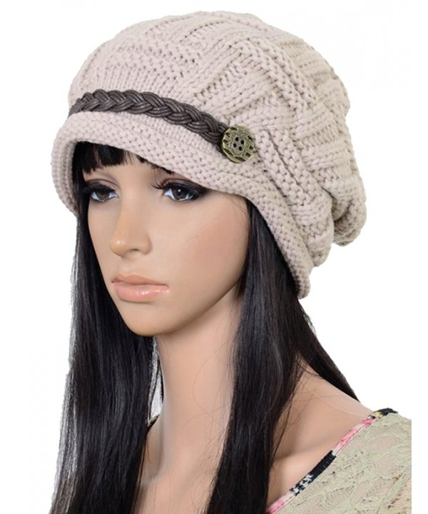 Women Winter Beanie Cabled Checker Pattern Knit Hat Button Strap Cap - Beige - C8128IO0VCN