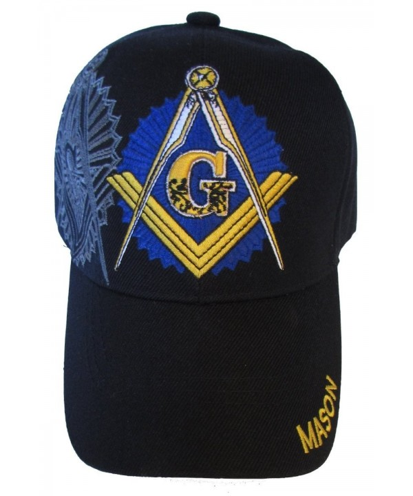 Freemason Embroidered Black Adjustable Hat Mason Masonic Lodge Baseball Cap - CG11GRNNLE3