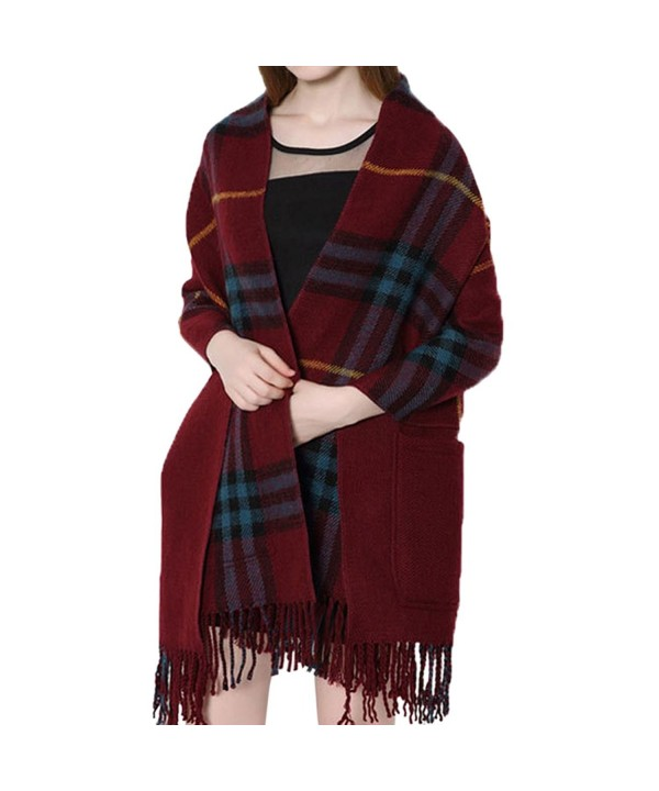 Cekaso Women's Plaid Shawl Reversible Wrap Blanket Fringed Oversize Pocket Scarf - Wine Red - CC12NH8U2RV