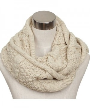 Ls Lady Women's Warm Infinity Circle Scarf Ribbed Knit Scarf Cowl Wrap - Off White - CB127PVG8WH