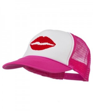 Lip Kiss Embroidered Foam Mesh Back Cap - Hot Pink White - C011NY3G3IZ