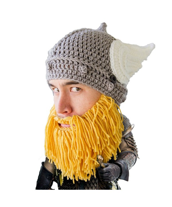 Beard Head - The Original Barbarian Thor Knit Beard Hat - Yellow - C412IQ8FMLV