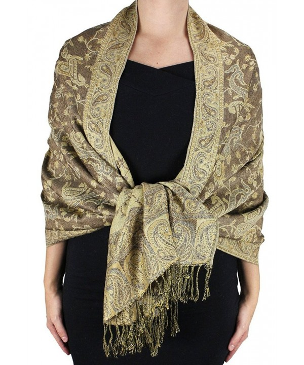 Dseason Women's Elegant Reversible Floral Paisley Pashmina Shawl Wrap Scarf Black and White - Tan - CW12O2G9XPY