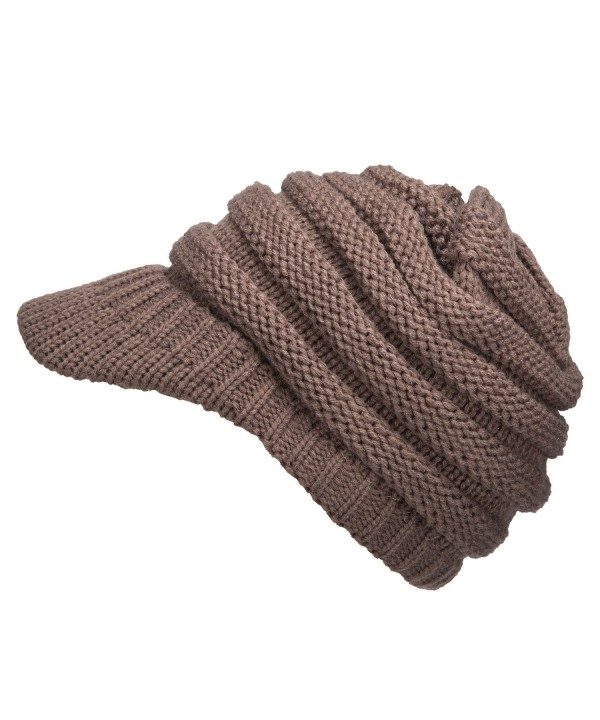 GRAMONI Exclusives Women's Winter Ribbed Brim Knit Hat Snow Ski Warm Cap With Visor For Christmas Gift - Taupe - CZ185A5A82U