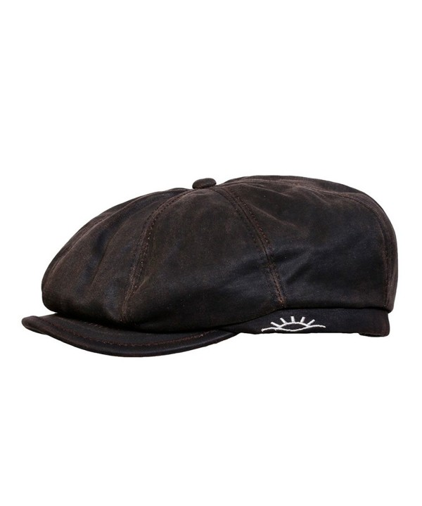 Conner Hats Men's Brent Weathered Newsboy Cap - Brown - CW12GEAFXYN
