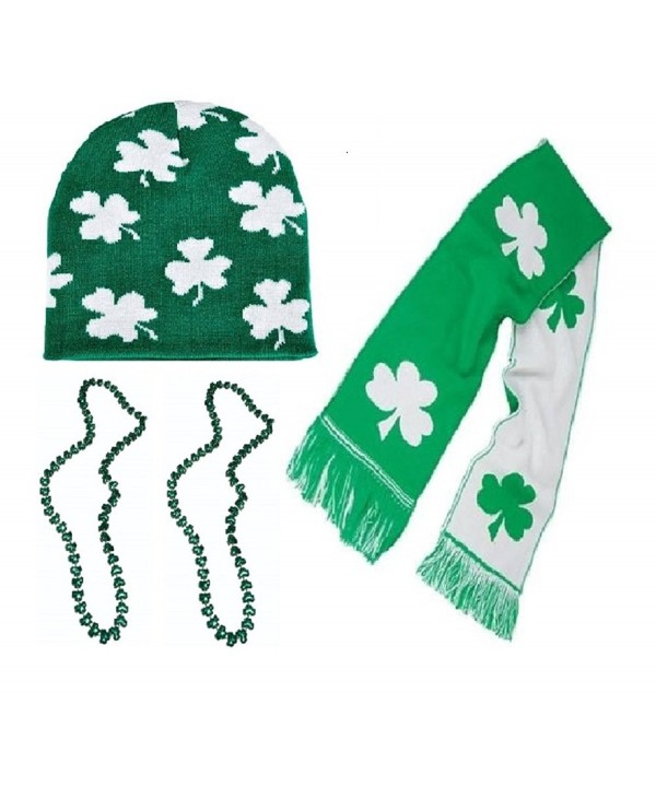 St Patrick Day Party Parade Accessories - Knit Scarf With Beanie Hat - CK17Y7HH7ZG