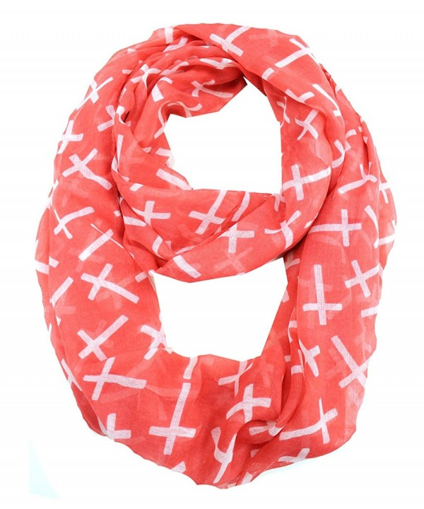 Modadorn Fall to Winter Cross Print Infinitiy Scarf - Coral - CN11KT7NBWF