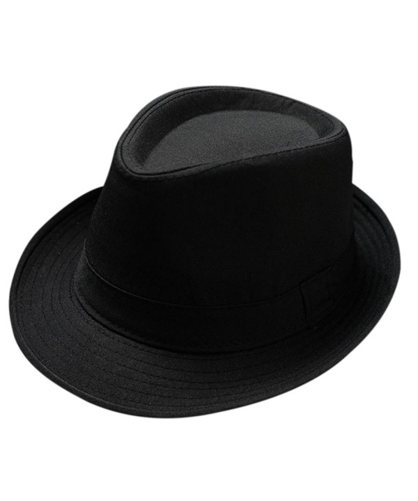 Freedi Men's Fedora Hat Classical Felt Jazz Cap Brim Costume Party Headwear - Black - CX187M2MH97