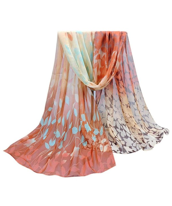 TOPUNDER Women Design Printed Silk Soft Silk Chiffon Shawl Wraps Scarf Scarves - Coffee - C112L2BWWW1