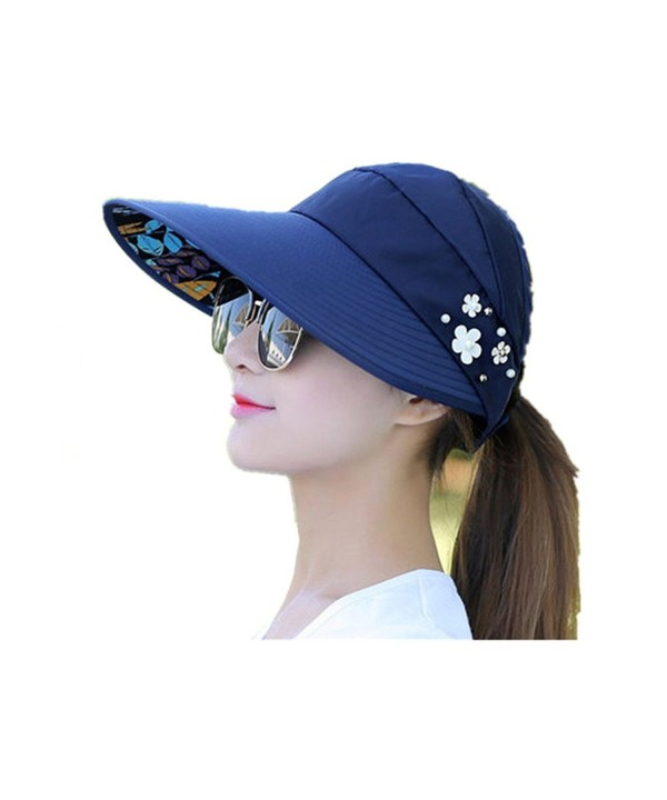 TTKBHHQ Womens Sun Hat Summer Beach Hat Foldable Wide Brim Reversible UPF 50+ - Navy - CG182MLLXWI