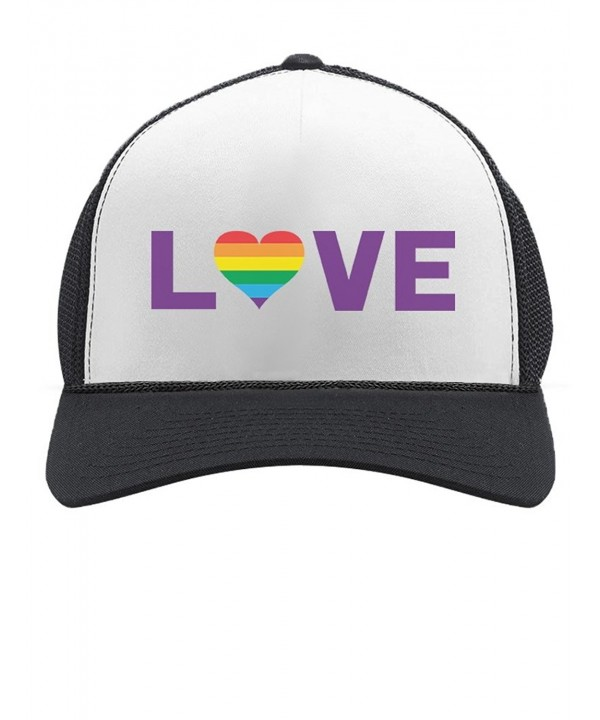 TeeStars Gay Love - Rainbow Heart Gay & Lesbian Pride Trucker Hat Mesh Cap - Black/White - CR1845R266R