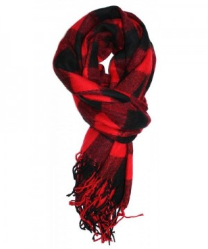 Ted and Jack - Jack's Classic Oversized Cashmere Feel Buffalo Check Wrap/Scarf - Black/Red - C4187U8CMR5