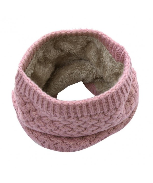 Clearance! Women Teen Girls Winter Thick Warm Infinity Scarf Knit Fleece Neck Warmer Circle Loop Scarves - Pink - CY188UIWLIE