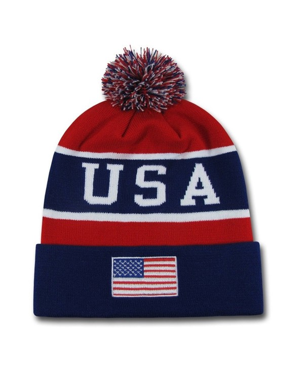 W REPUBLIC APPAREL USA Flag Team Beanies American Winter Olympics Patriotic Pom - CJ180RK5W3A