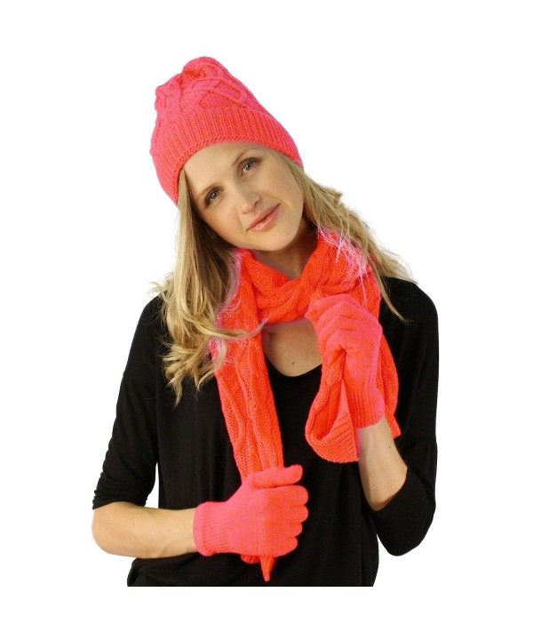 Ladies 3pc Winter Soft Cable Knit Beanie Skull Hat Long Scarf Gloves Set - Pink - C311PCWO3CJ