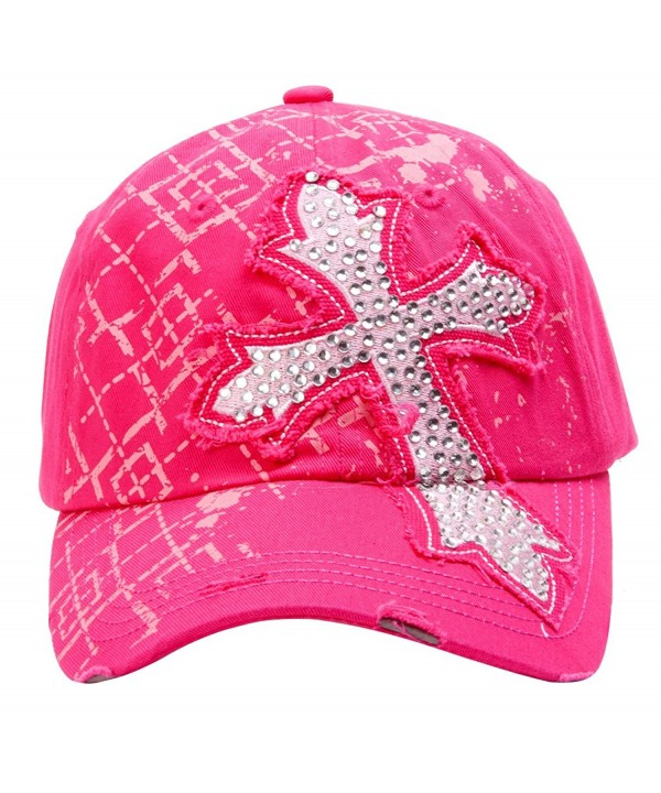 TopHeadwear Beaded Cross Distressed Adjustable Baseball Cap - Hot Pink - CT11O3DV731