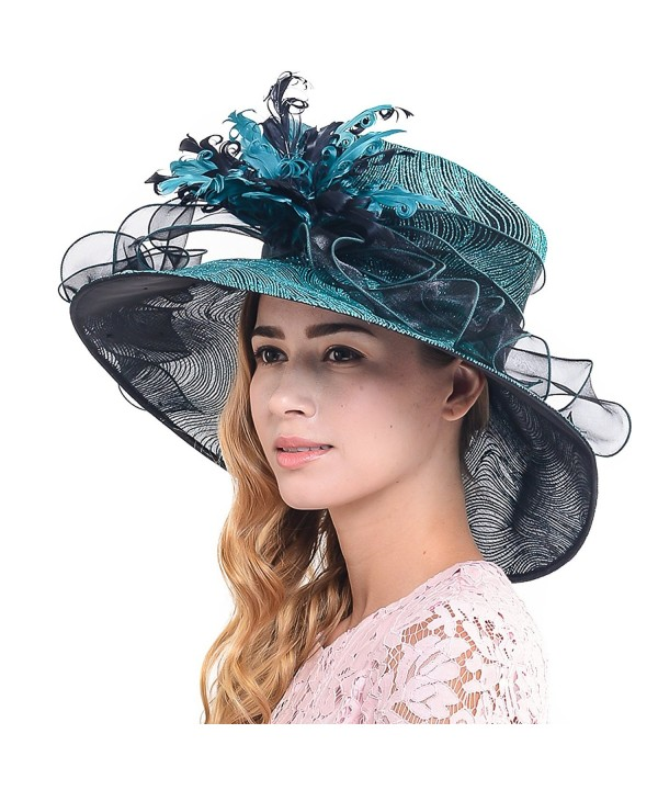 Wimdream women Organza Derby Church wedding party wide brim feather hat S041-S - Turquoise - CY12O8Q2MCA