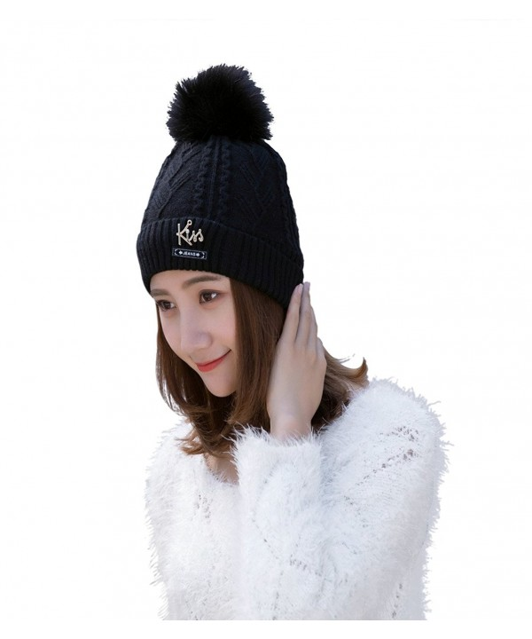 Buytop Winter Beanie Hat Scarf Set Warm Knit Hat Thick Fleece Lined Knit Skul Cap For Men Women - Black-pp - CW187QXN947