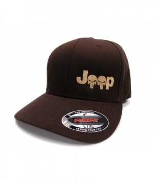 Jeep Logo With Punisher Skull Symbol Left Panel Embroidered Flexfit Twill Cap - Brown/Tan - CE12IJW8315