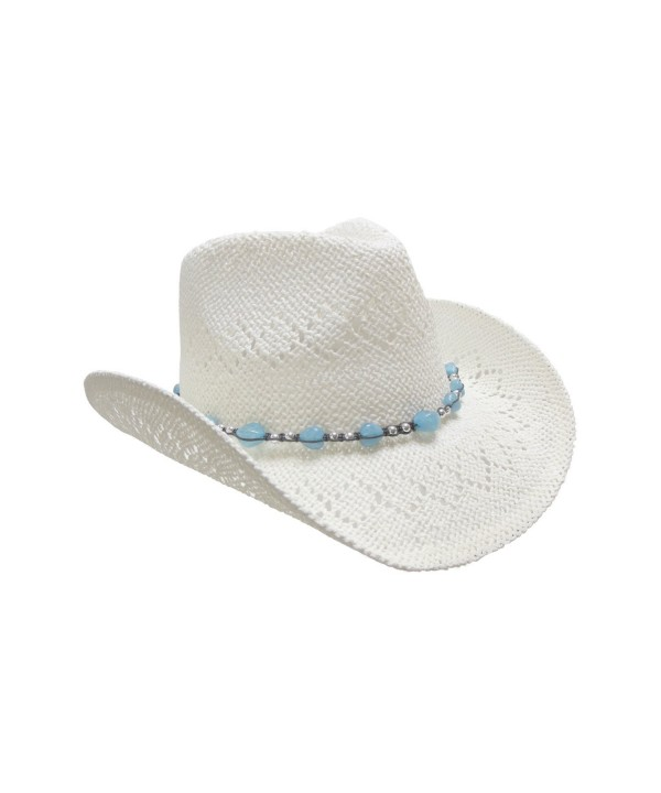 Straw Cowboy Hat for Women with Beaded Trim and Shapeable Brim - White - CT11MAYBE41